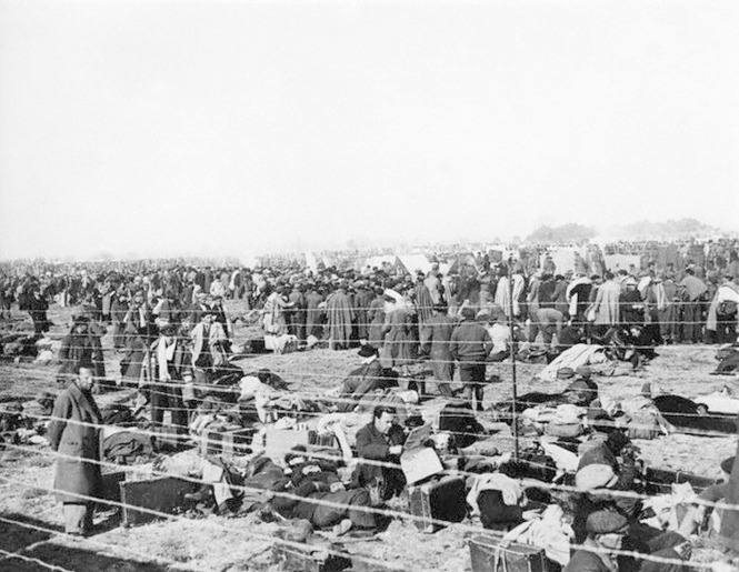Spanish Republican Soldiers in Concentration Camp