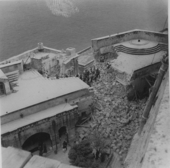 Bomb damage follwoing raid on Fort Lascaris on 24th December 1941. Fort Lascaris served as the peace-time War HQ.